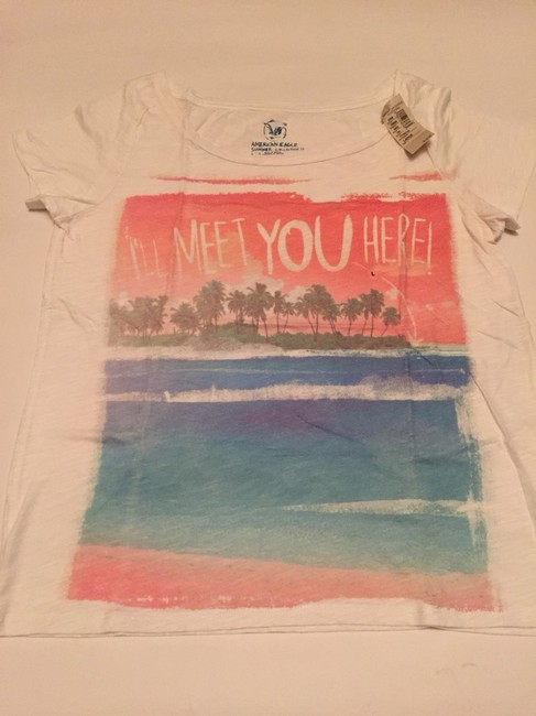 American Eagle Outfitters T Shirt White With Colored Print