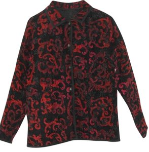 no brand name reversible Jacquard black and red Jacket