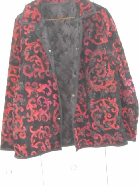 no brand name reversible Jacquard Chenille black and red Jacket