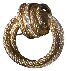Dior Signed Gold Tone Knot Rope Dior Brooch