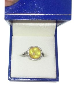 Stein's Jewlers Citrine and Diamond White Gold Ring