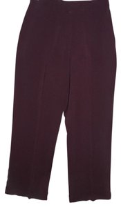 Focus 2000 Fashionable Plum Maroon Cuffed Career Wide Leg Pants burgundy