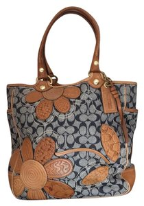 Coach Tote in Blue & Tan
