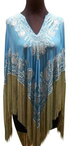 Tanja Pignatelli Embellished Beaded Fringed Resort Travel Cape