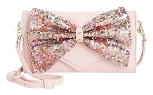 Betsey Johnson wallet on a string blush sequin bow cross body blush