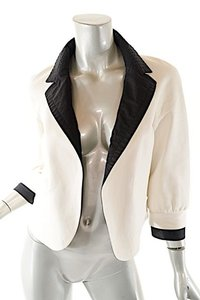Chanel Leather Bolero Off White & Black Leather Jacket