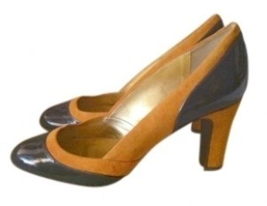 J.Crew Isabella Style #96598 Suede Leather Made In Italy Patent Like New Never Worn Black/Tangerine Pumps