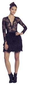 Porcelain Ostrich Feathers Mini Fringe Ostrich Feathers Mini Skirt black