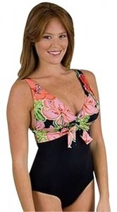 Other SWIMSUIT 14 38D ROXANNE TUMMY CONTROL GOLD FOIL TROPICAL EMPIRE TOP