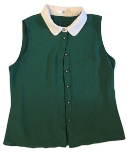 lavand. Button Down Sleeveless Top Green
