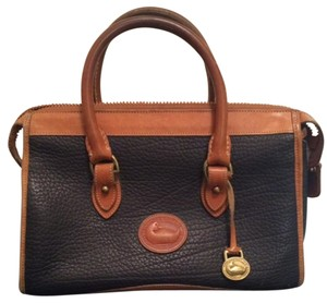 Dooney & Bourke Vintage Leather Gold Hardware Satchel in Black & Brown