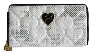 Betsey Johnson Perforated quilted heart zip around wallet on a string cross body bone/black