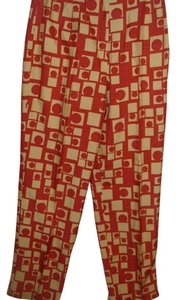 Talbots Mod Geometric Print Silk Trouser Pants burnt orange