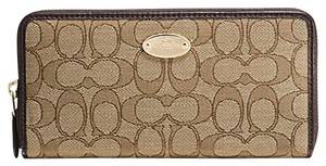 Coach Signature Fabric accordion zip wallet