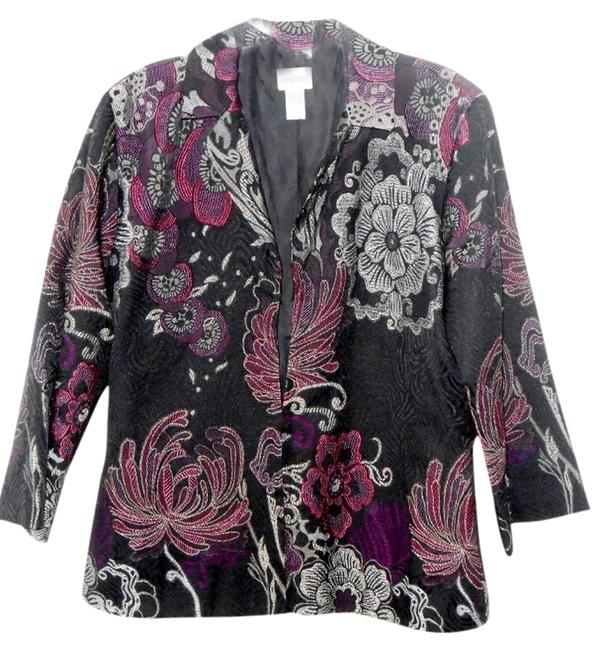 Chico's Dressy Evening Purple Holiday Burgundy and Silver Jacket