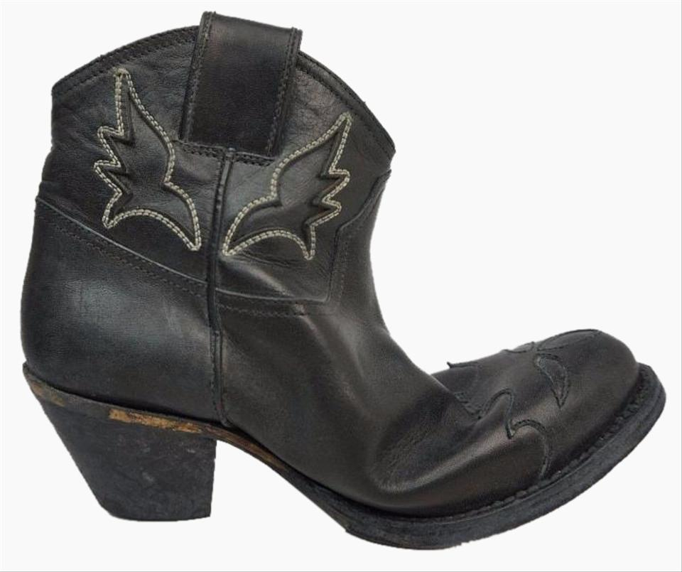 7bc56bd0e5f Golden Goose Deluxe Brand Black Sydney A2 Leather Western Ankle  Boots/Booties Size US 6 Regular (M, B)