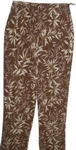Talbots Tropical Botanical Silk Trouser Pants brown