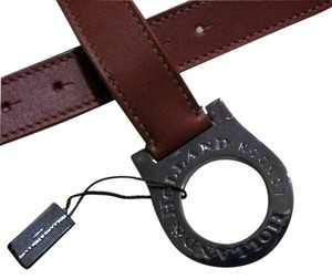 Holland and Holland Holland & Holland Leather Belt with Round Embossed Gunmetal Buckle