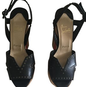 Christian Louboutin Black/Natural Wedges