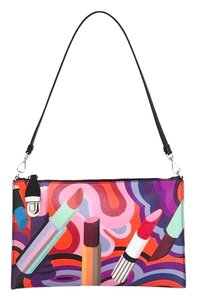 Prada Pochette Saffiano Graffiti Black Multi Clutch