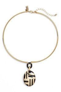 Kate Spade NEW Mod Moment Collar Pendant Necklace, Black Gold, WBRUB199