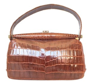 Other Brown Vintage Crocodile Deco Alligator Baguette
