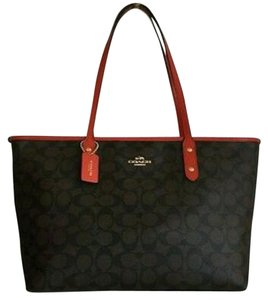 Coach Tote in Brown, black, and carmine