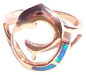 Fire Opal Dolphin 925 Sterling Silver 14k Rose Gold Ring 7.5