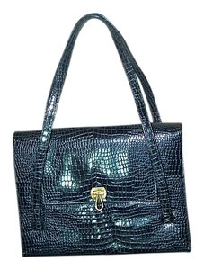 I.magnin Vintage Crocodile Satchel in Navy