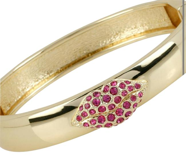 Item - Costume Gold with Red Stones Bangle Bracelet