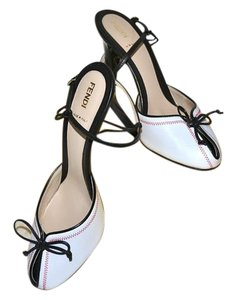 Fendi Peep Toe High Heels Italy White with Black Trim Sandals