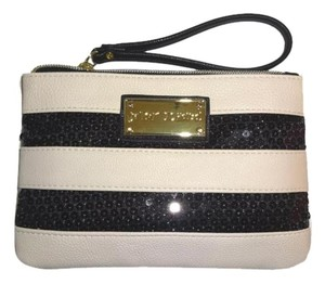 Betsey Johnson GIFT BOXED / LIMITED EDITION Sequin black/bone stripe Wristlet