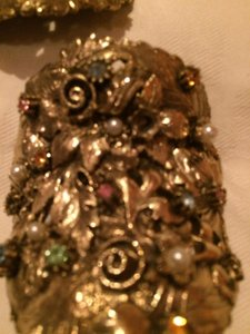 Musi (signed) Shoe Clips Gold plated with Rhinestones Formal