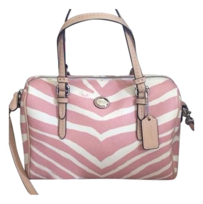 Coach F33765 White/Pink Leather Tote Coach F33765 White/Pink Leather Tote Image 1