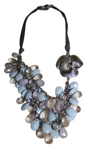 Anthropologie Blue and Silver Anthropologie Tiered Flower Necklace