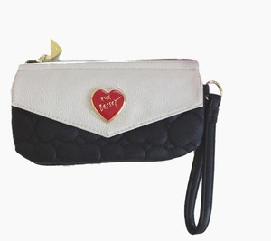 Betsey Johnson Black/bone slip pocket under envelope front snap closure wristlet