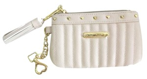 Betsey Johnson Bone quilted/ top zipper closure/tassel /chain clip wristlet