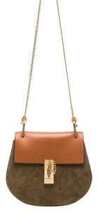 Chloé Gold Hardware Suede Calfskin Leather Shoulder Bag