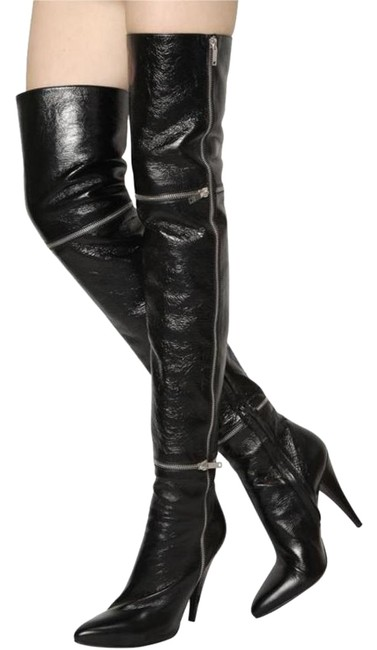 Item - Black Fetish Over The Knee Shiny Leather Boots/Booties Size US 10 Regular (M, B)