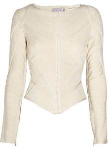 Hervé Leger Rare Off-white Zip Bandage Blazer Top