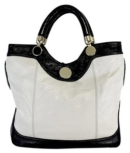 Jill Stuart White & Black Patent Leather Noho Victoria Tote