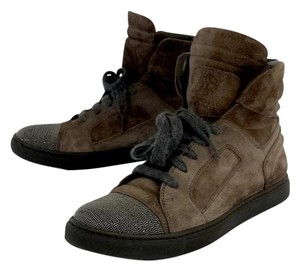 Brunello Cucinelli Brown Suede Hight Top Boots