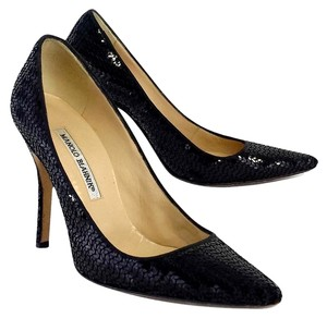 Manolo Blahnik Black Sequin Pumps