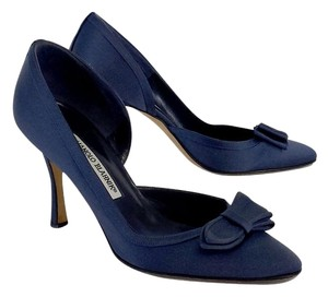 Manolo Blahnik Navy Satin D'orsay Bow Pumps