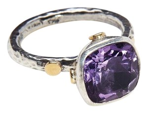 Condemned to Be Free Silver & 24k Gold Cushion Cut Amethyst Ring