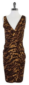 Diane von Furstenberg short dress Brown Silk Animal Print on Tradesy