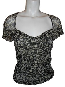 Diane von Furstenberg Silk Sheer Top black & beige