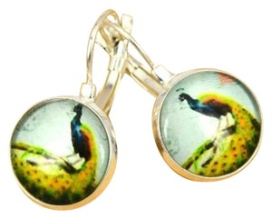 Peacock earrings with leverback