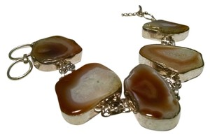 New Agate Gemstone Bracelet Large 1 inch plus stones 925 Silver J475