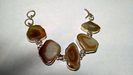 Other New Agate Gemstone Bracelet Large 1 inch plus stones 925 Silver J475